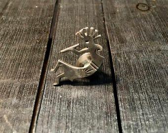 Vintage Native American Kokopelli Sterling Silver Brooch Pin   #160