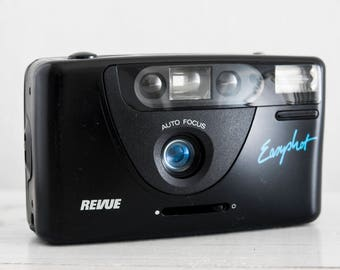 Revue Easyshot - GREAT CONDITION functional vintage camera, compact 35mm film point&shoot for lomography, prime wide lens + Handstrap!