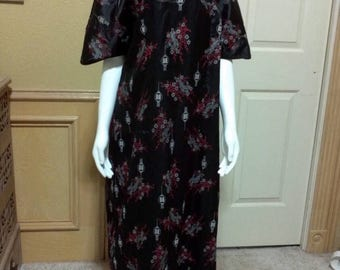 Vintage 70s Black Cheongsam Dress- large / xl
