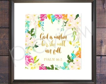 Psalm 46:5 - Instant Download - Psalm 46 5 Print - Christian Wall Art - Printable Bible Verse - Bible Verse Print