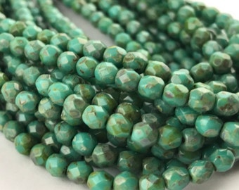 Persian Turquoise Picasso Faceted Fire Polished Czech Glass Beads 4mm