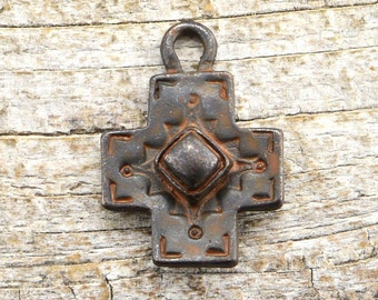 Rustic Cross Pendant, Antiqued Cross, Artisan Cross, Religious Cross, Cross Charm, Patina Cross, Southwest, Brown Cross