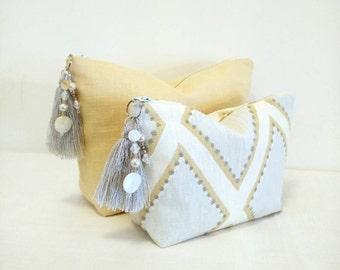 Women gifts, makeup bag set, Set of two, accessory bags, jewellery, modern, tassel bag set, gift set, travel toiletry bag set, linen bag set