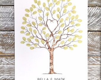 """A3 size Fingerprint Tree, Guest Book  """"Unity Tree"""" -  Watercolour + 2 ink pads incl. Personalised with names and dates. FREE delivery Aust."""