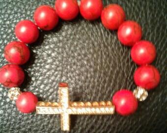 Women's Red Black and Gold bracelet
