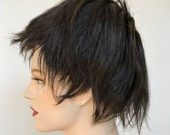 Vintage brown human hair short pixie wig