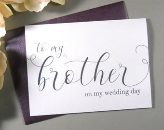 SHIMMER CARD, To My BROTHER on my Wedding Day, Brother Wedding Card, To My Brother on my Wedding Day Card, To My Brother Card, Brother Card