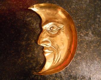 Man in the Moon Brass Ashtray. RARE Original William Tonks ( WT & S ) c1870 -  Original and Genuine.