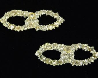 Rhinestone Clips, Faux Diamond Embellishments, Bridal, Wedding, Dress Gown Adornment, Sash Ribbon Decor, 2 Inches Wide, Craft Supply, Bling