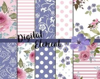Digital Floral Paper, Pink Floral Rose Paper, Digital Rose Watercolor Paper, Pink Garden Rose Paper. No. P178