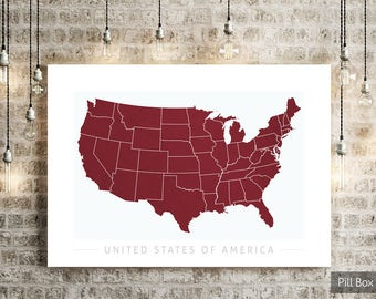 USA Map - Country Map of United States of America - Art Print Watercolor Illustration Wall Art Home Decor Gift - COLOUR PRINTS