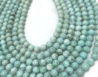 """6MM Larimar Smooth Round Beads-  Natural Larimar , AA Quality Length 16"""" , Larimar From Dominican Republic"""