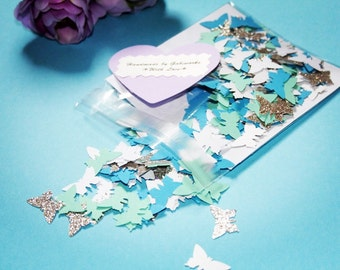 200 Butterflies Paper Punch, Blue/ White/Turquoise/ Glitter Grey Paper Die Cut,  Butterflies for scrapbooking,Baby Shower Confetti