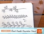 "Hand-Drawn Floral Stencil - Bullet Point Journal Stencil, fits Leuchtturm and Moleskine 5"" by 7"""