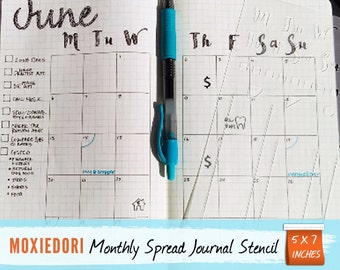 "Monthly Spread Stencil - Bullet Point Journal Stencil, fits Leuchtturm and Moleskine 5"" by 7"""