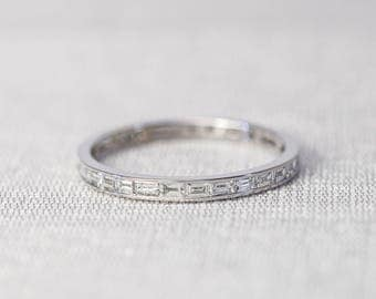 Eternity Baguette Diamond Wedding Band/Band ring in 14K solid gold, stacking ring