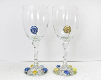 Set of Blue and Yellow Wine Glasses, University of Michigan Wine Glasses, Blue and Gold Wine Glasses, Beaded Wine Glasses
