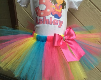 Dora the Explorer colorful Birthday Tutu Outfit