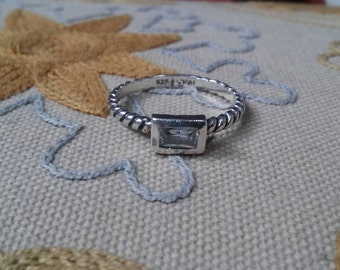Silpada Rope Sterling Silver and Rectangular CZ Stack Ring SZ 7 - R2462