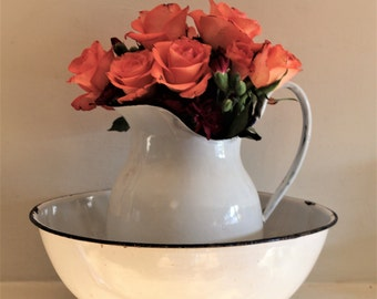 Vintage Large Enamel French Jug/Pitcher and a Bowl