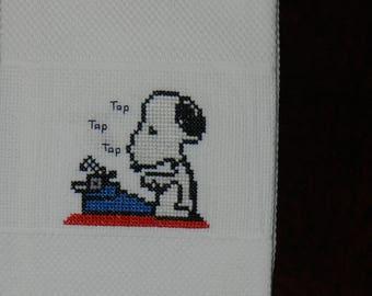 """Cross Stitch """"Snoopy w/ Typewriter"""" Towel"""
