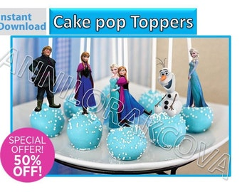 Frozen Cake pop Toppers/ Frozen Cupcake Toppers/ Printables/ Elsa/ Olaf/ Anna/ Instant Download/ You Print 60% OFF