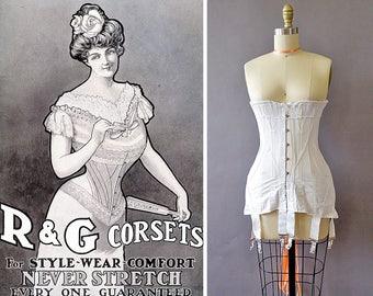 1900s R&G Edwardian Corset- 1900s White Corset - Antique Coutil Cotton Lace Corset -Longline Corset w Boning- Metal Suspenders- Satin Lacing