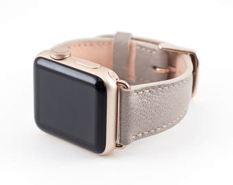 Apple Watch Band-Raised Chevre Leather Taupe 42MM