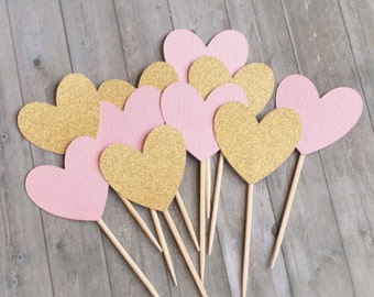 Cupcake Toppers, Heart Cupcake Toppers, Pink and Gold, Party Decorations, Wedding Cupcake Toppers, Wedding Decorations, Party Picks
