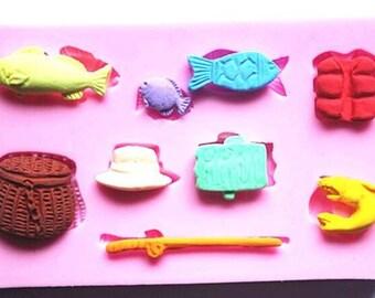 Fishing Design Silicone Fondant Mould.
