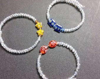 3 bead memory wire bracelets
