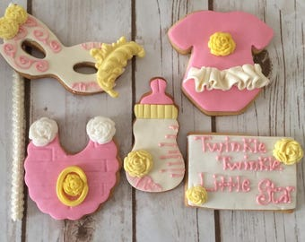 Shabby Chic Cookies, Baby Shower Cookies, Girl Cookies, Decorated Cookies