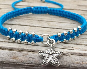 Starfish Bracelet, Starfish Anklet, Adjustable Cord Macrame Friendship Bracelet, Macrame Jewelry, Gift for Her, Surf Bracelet, Starfish