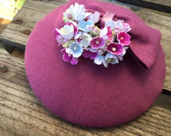 Fascinator purple with loop and forget-me-not