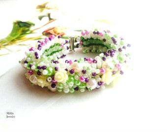 Beadwork jewellery, beaded bracelet, multicolor stackable bracelet, beadweaving