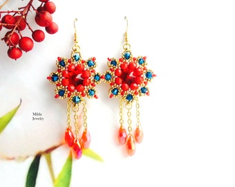 Handmade cluster earrings, red, gold, bleu beaded earrings, dangle drop glass bead earrings for her, rivoli chandelier earrings, beadwork