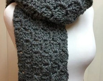 Oversized Gray Scarf, Crochet Scarf, Charcoal Gray Scarf, Chunky Scarf, Gray Winter Scarf, Men's Scarf, Crocheted Scarf, Chunky Gray Scarf