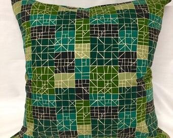 "Green Retro 18"" x 18"" Cushion Cover, Pillow cover, Throw Pillow, Decorative Pillow, Home Decor"