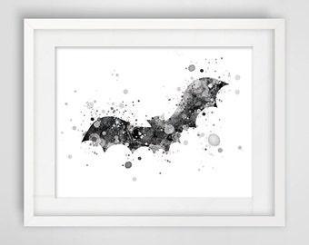 Illustrations grey black bat, original art, animal wall decor