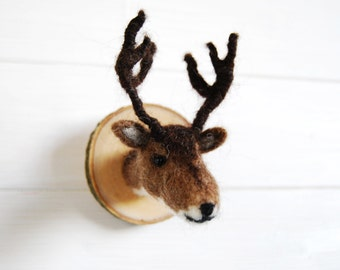 Needle Felted Stag Head Trophy, Faux Taxidermy Deer, Handmade Fibre Art, Woodland, Miniature Stag, 3D Wool Sculpture, Wall Mounted, Unique