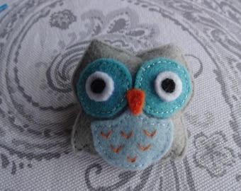 felt brooch, felt pin, felt owl