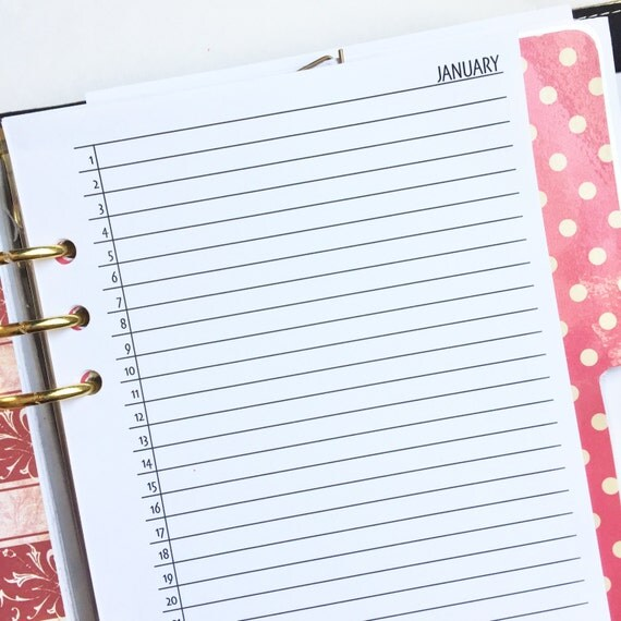 "Month On One Page  ""Lists""  Planner Inserts Jan - Dec Half Letter Size"