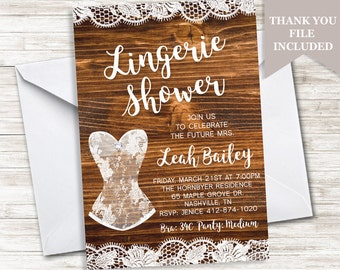 Rustic Lingerie Shower Invitation Invite White Lace Wood Bridal Country 5x7 Digital Personalized
