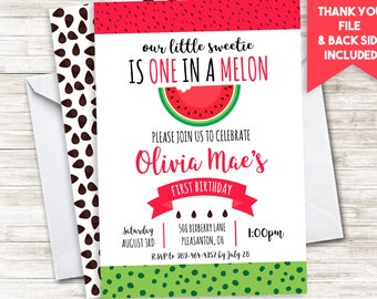 Watermelon Birthday Invitation Invite Fruity Fruit Summertime Summer ANY AGE Digital 5x7 Personalized