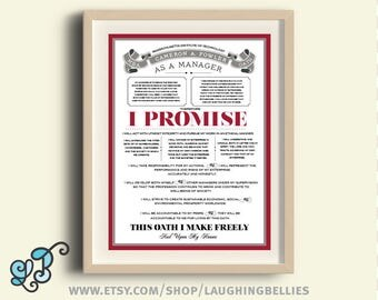 Manager's Personalized Poster Gift - MBA Oath - Business School Gift - Boss Personalized Gift
