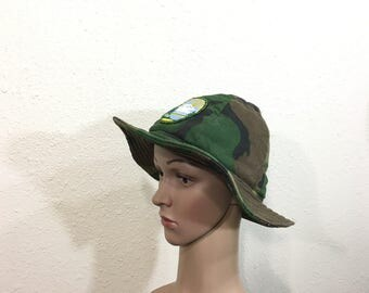 80's camouflage quilted hat with washington patch size 7 1/4