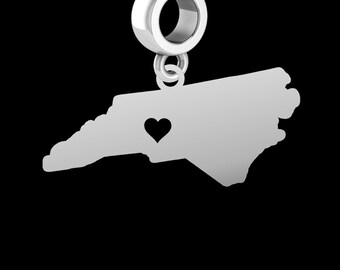 State of North Carolina Dangle Charm | Sterling Silver | Fits All Beaded Charm Bracelets | Available as a Necklace