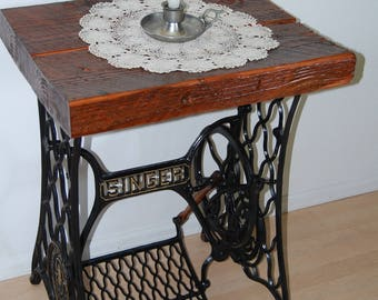 Vintage Antique 1898 Singer Treadle Sewing Machine Base End Table