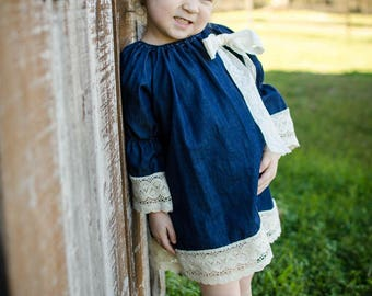 Denim and lace dress - size 3T