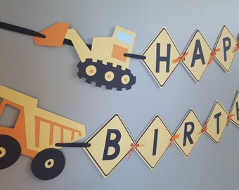 construction birthday party * construction happy birthday banner * construction banner * construction party * dump truck * excavator banner